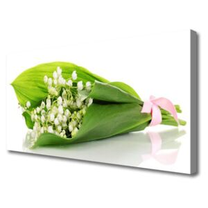 Canvas Wall art Flowers floral white green 100x50 cm