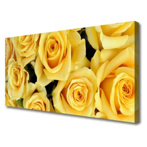 Canvas Wall art Roses floral yellow 100x50 cm