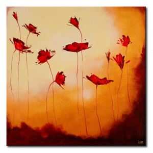 Canvas Print Poppies: Poppies in brown