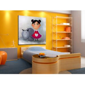 Canvas Print For Children: Agata and the cat