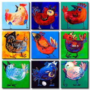 Canvas Print For Children: Colourful hens