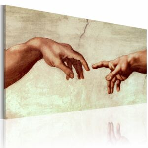 Canvas Print Silhouettes: The creation of Adam: fragment of painting