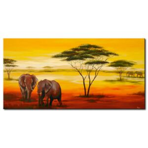 Canvas Print African: Elephants in the afternonn