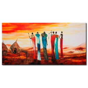 Canvas Print People: A tribe on the outskirs of a village