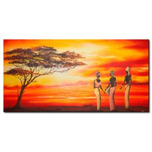 Canvas Print People: African women and a lonely tree