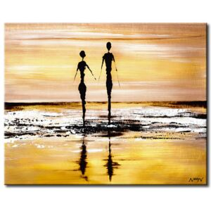 Canvas Print Sunrises and Sunsets: Walking on the beach
