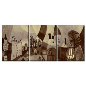 Canvas Print Black and White: City in sepia