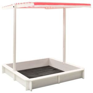 VidaXL Sandbox with Adjustable Roof Fir Wood White and Red UV50