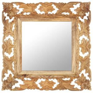 Hand Carved Mirror Brown 50x50 cm Solid Mango Wood