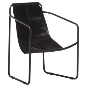 Relaxing Armchair Black Real Leather