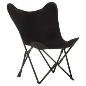 Foldable Butterfly Chair Black Real Leather