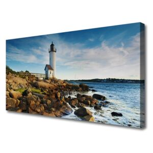 Canvas Wall art Lighthouse stones sea landscape white brown grey yellow 100x50 cm
