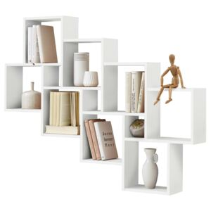 FMD Wall-Mounted Shelf with 11 Compartments White