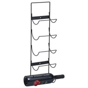 Wall Mounted Wine Rack for 5 Bottles Black Iron