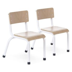 CHILDHOME Kid's Chair 2 pcs Wood Natural and White
