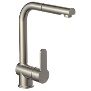 SCHÜTTE Sink Mixer with Pull-out Spray LONDON Low Pressure Stainless Steel Look