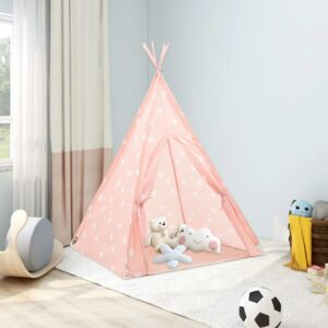 VidaXL Children Teepee Tent with Bag Polyester Pink 115x115x160 cm