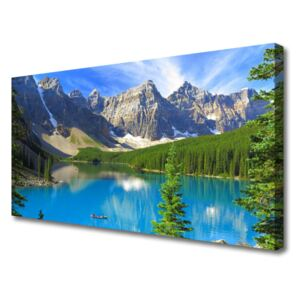 Canvas Wall art Lake mountain forest landscape blue green grey white 100x50 cm