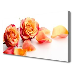 Canvas Wall art Roses floral yellow orange 100x50 cm