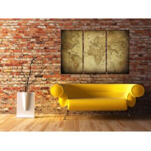 Canvas Print World Maps: Old map: triptych