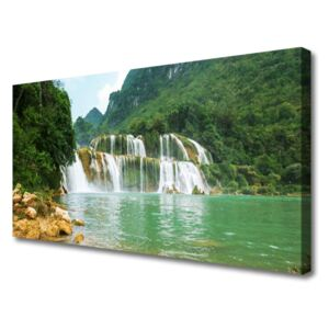 Canvas Wall art Forest waterfall landscape brown green white blue 100x50 cm
