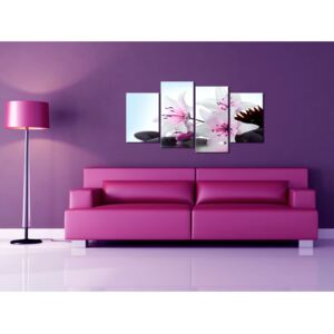 Canvas Print Lilies: White lilies with pink accents