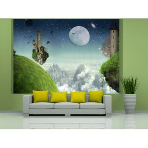 Wall mural Fantasy: Flight over the mountains