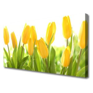 Canvas Wall art Tulips floral yellow green 100x50 cm