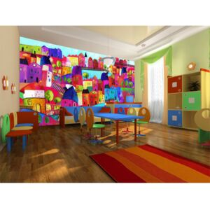 Wall mural For Children: Rainbow-hued town