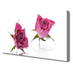 Canvas Wall art Roses floral red green 100x50 cm