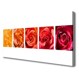 Canvas Wall art Roses floral yellow orange red 100x50 cm