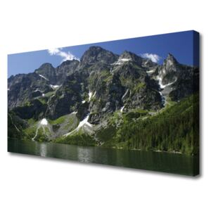 Canvas Wall art Mountains lake forest landscape green grey 100x50 cm