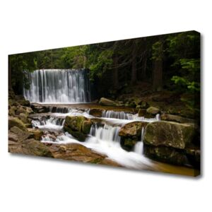 Canvas Wall art Waterfall forest nature white grey brown green 100x50 cm