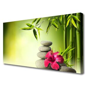 Canvas Wall art Bamboo tube flower stones floral green red grey 100x50 cm