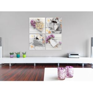 Canvas Print Vintage and Retro: Hearts and flowers
