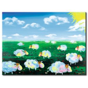 Canvas Print For Children: Meadow full of sheeps