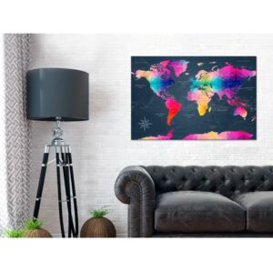 Canvas Print World Maps: Maps: Colourful Crystals