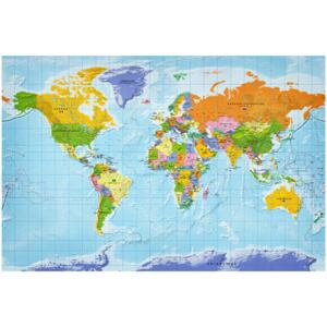 Corkboard Map Decorative Pinboards: World Map: Countries Flags [Cork Map]