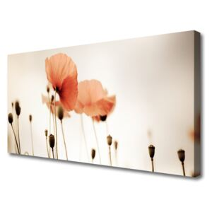 Canvas Wall art Poppies floral red 100x50 cm