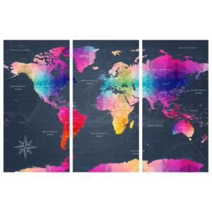 Corkboard Map Decorative Pinboards: Maps: Colourful Crystals II [Cork Map]