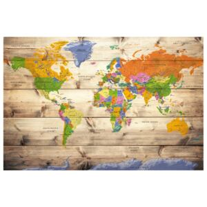 Corkboard Map Decorative Pinboards: Map on wood: Colourful Travels [Cork Map]