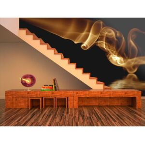 Wall mural Modern: Orange abstract smoke in a black background
