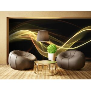 Wall mural Modern: Yellow wave form floating in dark