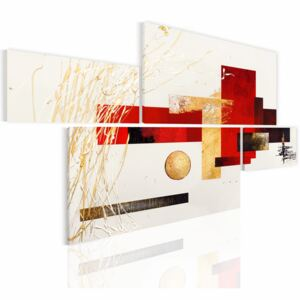 Canvas Print Abstract: Plane with red and gold