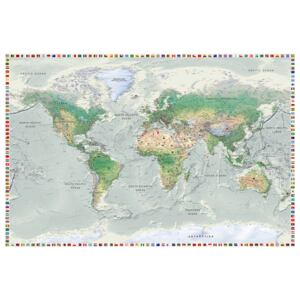 Corkboard Map Decorative Pinboards: World Map: Graphite Currents [Cork Map]
