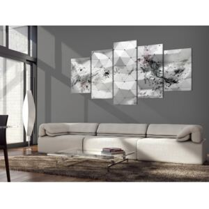 Canvas Print Black and White: Ink Blots and Triangles
