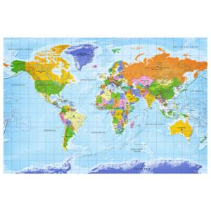 Corkboard Map Decorative Pinboards: World Map: Countries Flags [Cork Map - German Text]