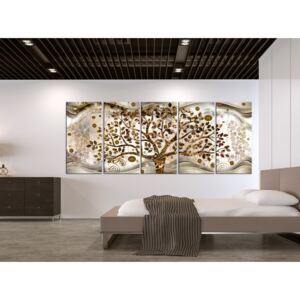 Canvas Print Abstract: Tree and Waves (5 Parts) Brown