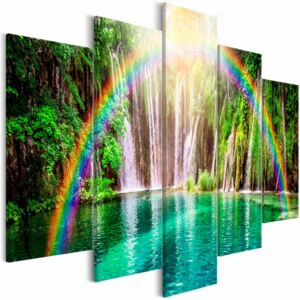Canvas Print Trees: Rainbow Time (5 Parts) Wide