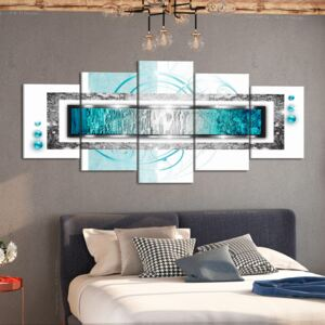 Canvas Print Abstract: Turquoise blizzard (5 Parts) Wide